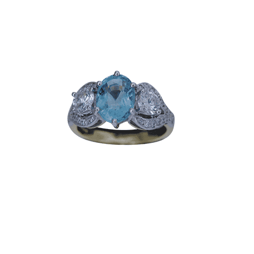 Oval Paraiba Tourmaline Claw Ring Dechenecey Designs