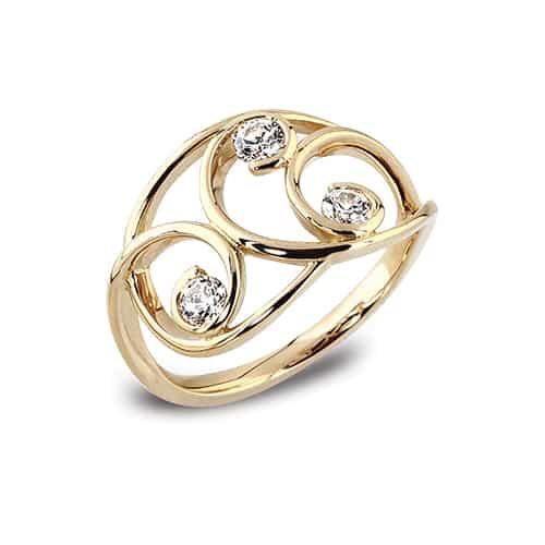 modern yellow gold diamond set ring � dechenecey designs