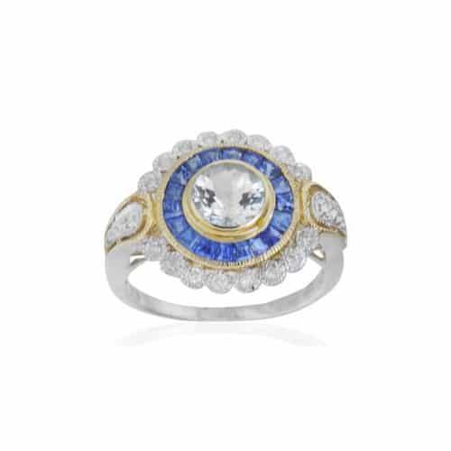 Art Deco Style Aquamarine Sapphire and Diamond Ring