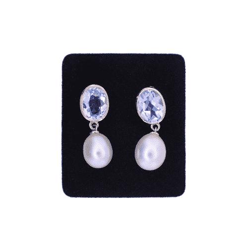 blue topaz and pearl drop earrings