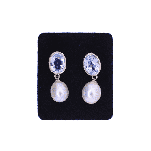 blue topaz and pearl drop earrings