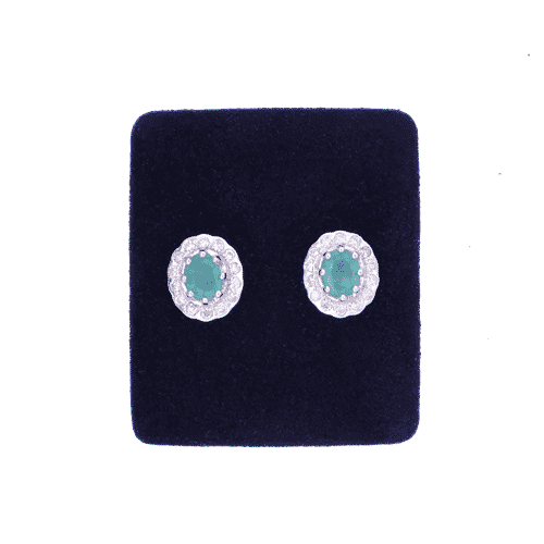 Emerald and Diamond Cluster Earrings.